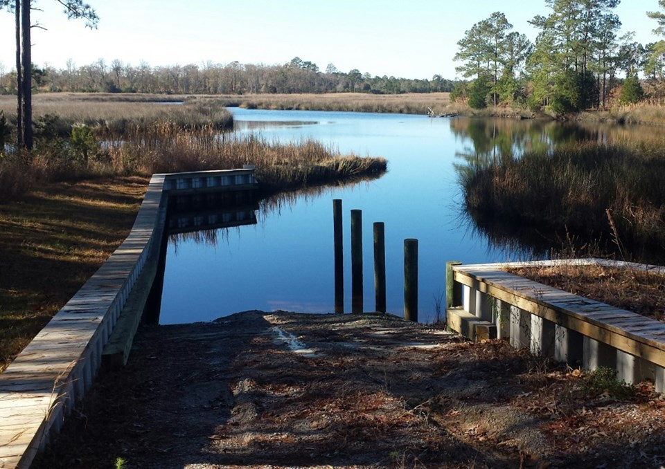 boat ramp leads out to queens creek