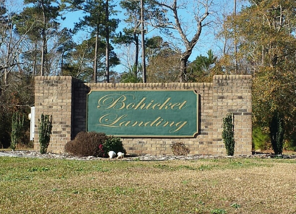 subdivision entrance bohicket landing has entrance right off hwy 24, making it an easy commute to camp lejeune or jacksonville, or on through swansboro to morehead city.